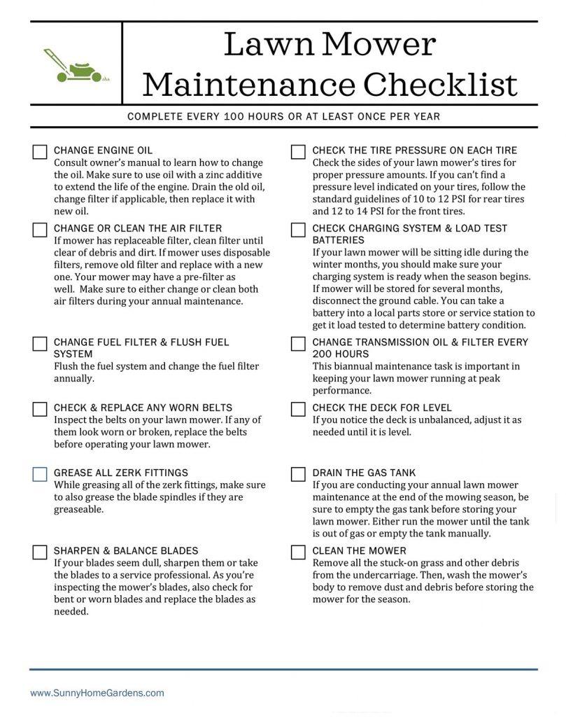 image of Lawn Mower Maintenance Checklist